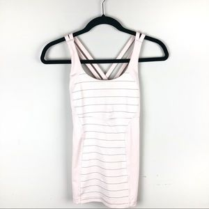 Lululemon Pink Gray Striped Tank Criss Cross Back